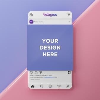 Instagram sociale media plaatsen mockup-interface 3d render