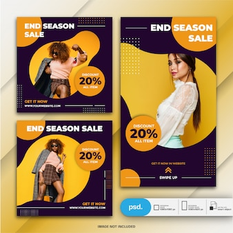 Instagram stories and feed post bundle fasion plantilla de venta