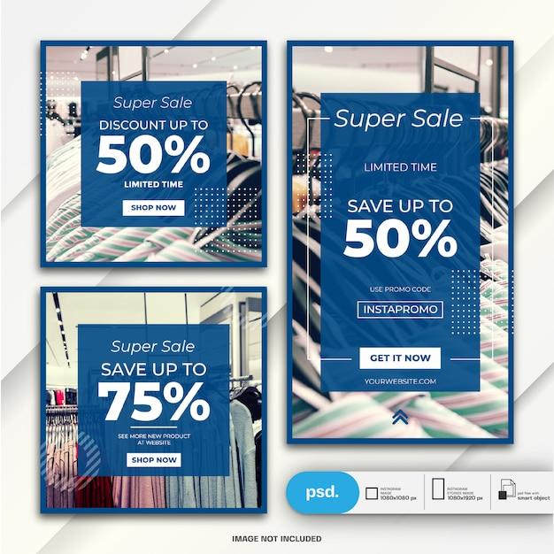 Instagram stories y banner post bundle fashion sale template