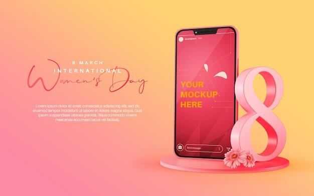 Instagram-verhaalmodel met smartphone voor internationale vrouwendagviering