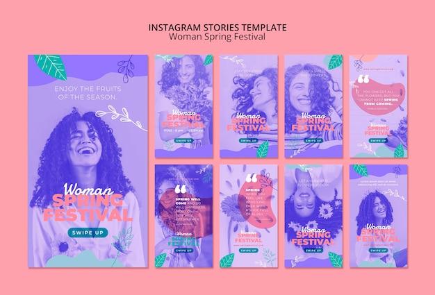 Instagram-verhalen met het lentefestival van de vrouw