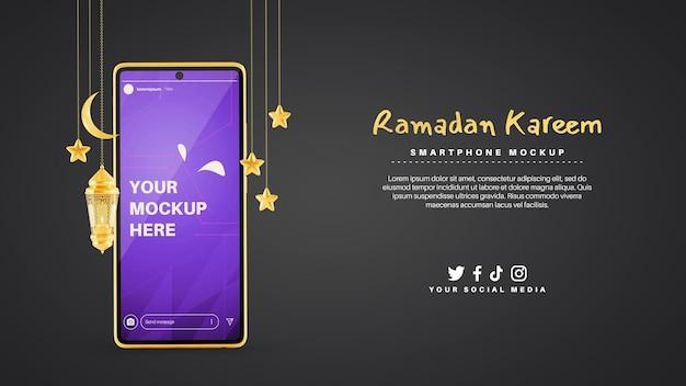 Instagram-verhalen met smartphone voor ramadan kareem moslimreligie