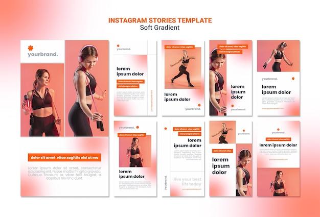 Instagram-verhalen met zachte gradiënt sportieve vrouw