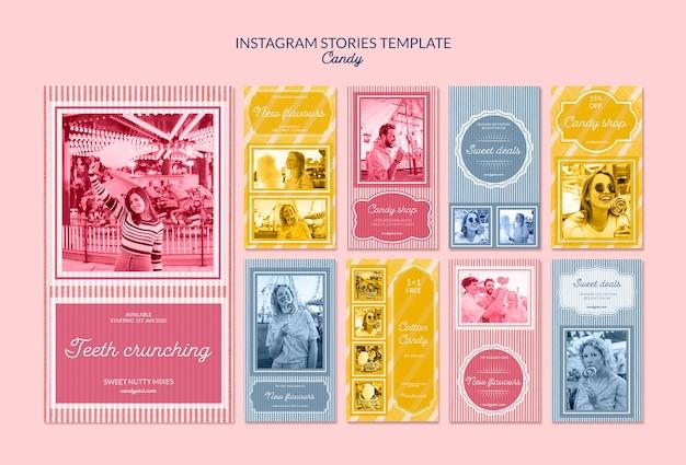 Instagram-verhalen publiciteit voor snoepwinkel