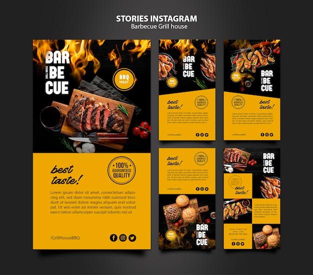 Instagram verhalen sjabloon met barbecue