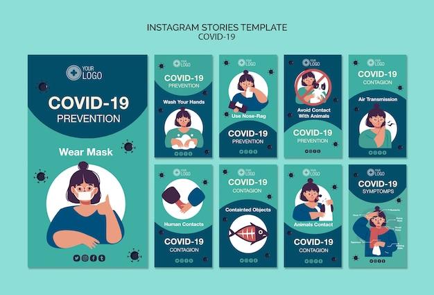 Instagram verhalen sjabloon met covid 19