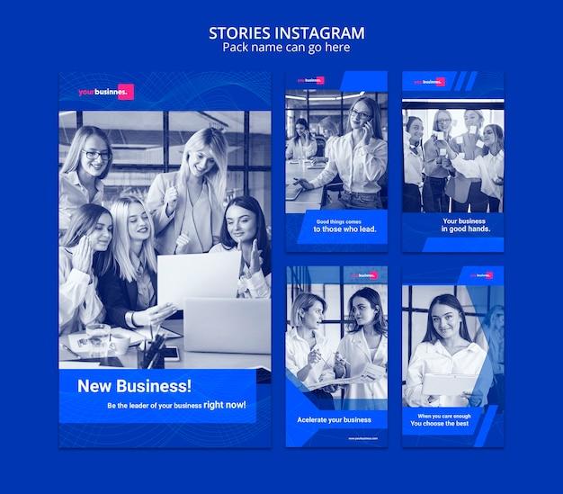 Instagram verhalen sjabloon met zakenvrouw