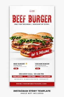 Instagram verhalen sjabloon voor spandoek voor restaurant fast-food menu triple burger