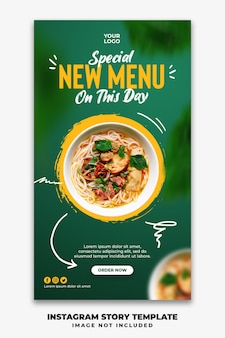 Instagram verhalen sjabloon voor spandoek voor restaurant food menu