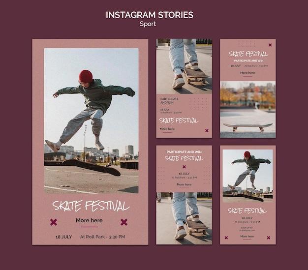 Instagram-verhalen van skatefestivals
