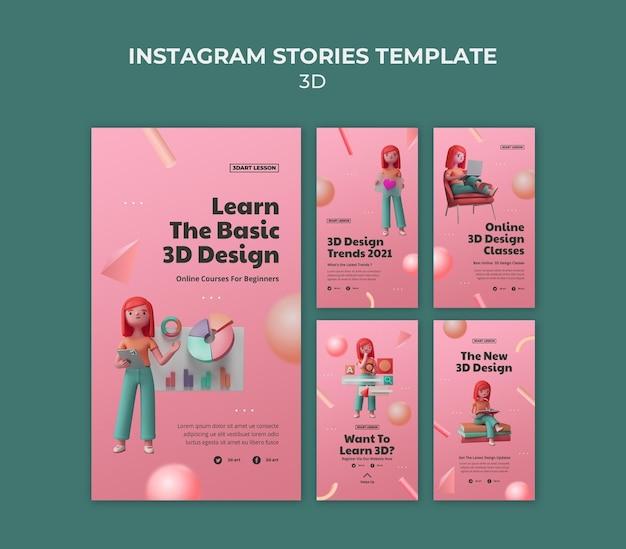 Instagram-verhalencollectie voor 3d-ontwerp met vrouw