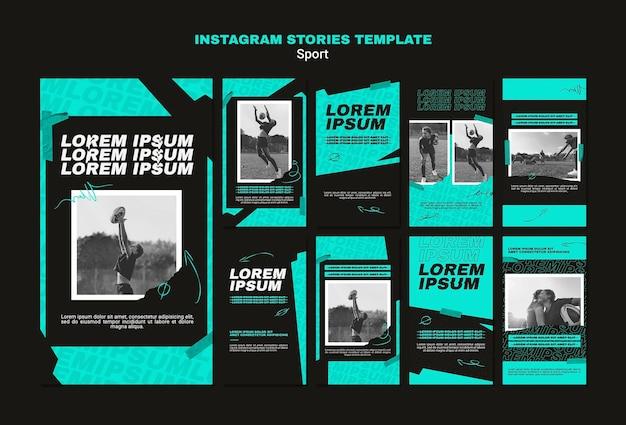 Instagram-verhalencollectie voor amerikaans voetbalspel