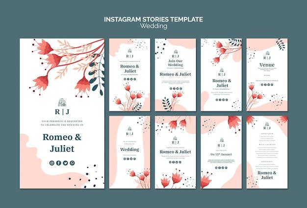 Instagram verhalencollectie voor bruiloft met bloemen Gratis Psd