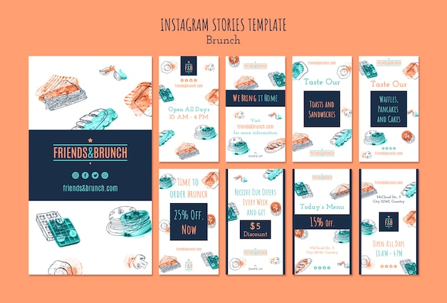 Instagram verhalencollectie voor brunchrestaurant