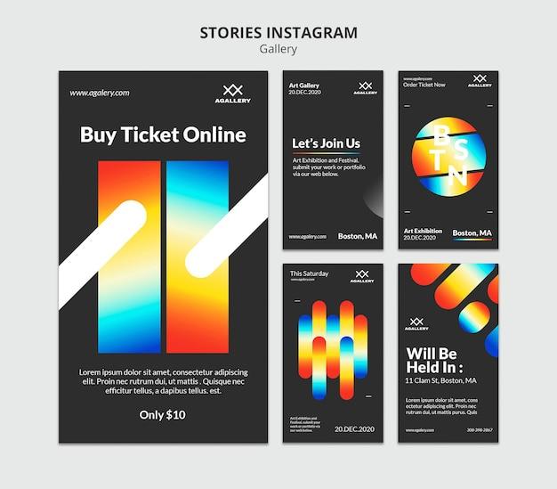 Instagram-verhalencollectie voor expositie van moderne kunst