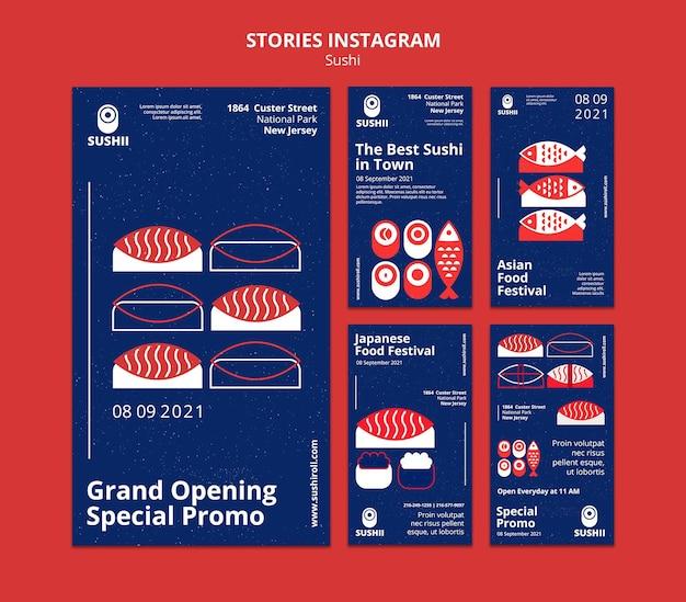 Instagram-verhalencollectie voor japans voedselfestival met sushi Premium Psd