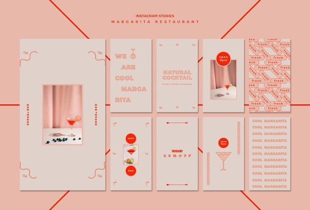 Instagram-verhalencollectie voor margarita-cocktaildrank