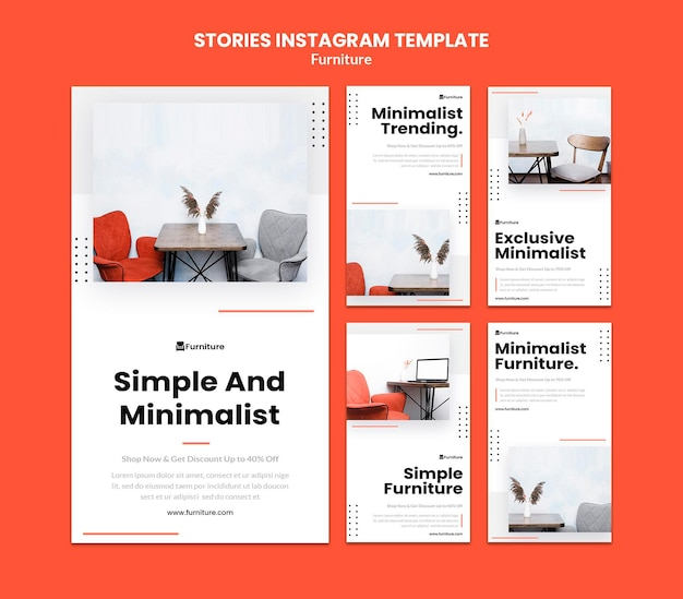 Instagram-verhalencollectie voor minimalistische meubelontwerpen