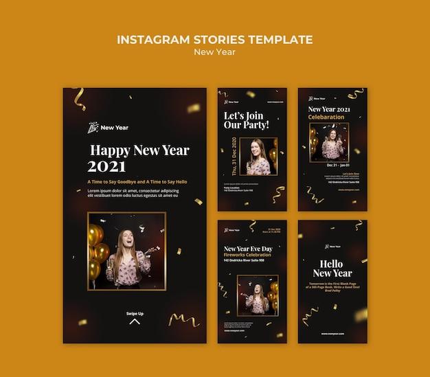 Instagram-verhalencollectie voor nieuwjaarsfeest met vrouw en confetti