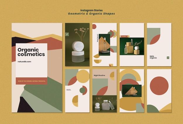 Instagram-verhalencollectie voor podium met etherische olieflessen met geometrische vormen