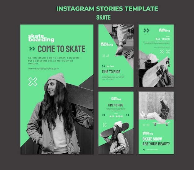 Instagram-verhalencollectie voor skateboarden met vrouwelijke skateboarder
