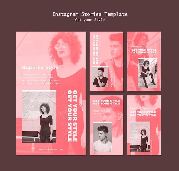 Instagram-verhalencollectie voor tijdschrift in elektronische stijl