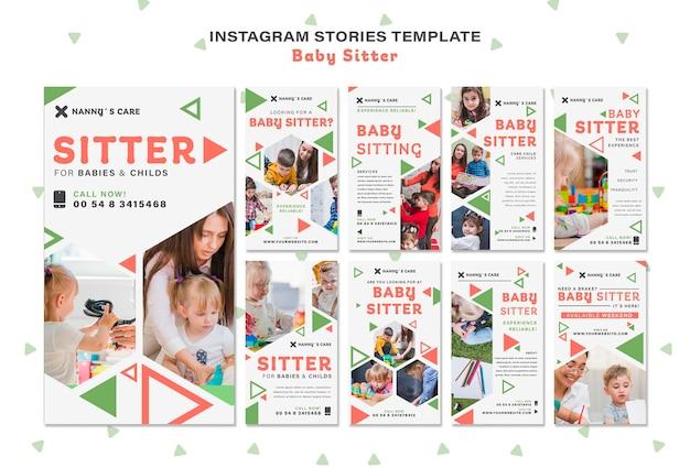 Instagram-verhalencollectie voor vrouwelijke babysitters met kinderen