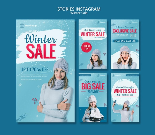 Instagram-verhalencollectie voor winteruitverkoop met vrouw en sneeuwvlokken