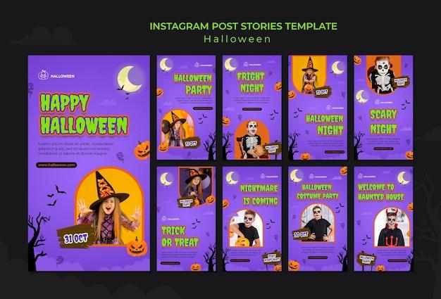 Instagram-verhalenverzameling voor halloween met kind in kostuum