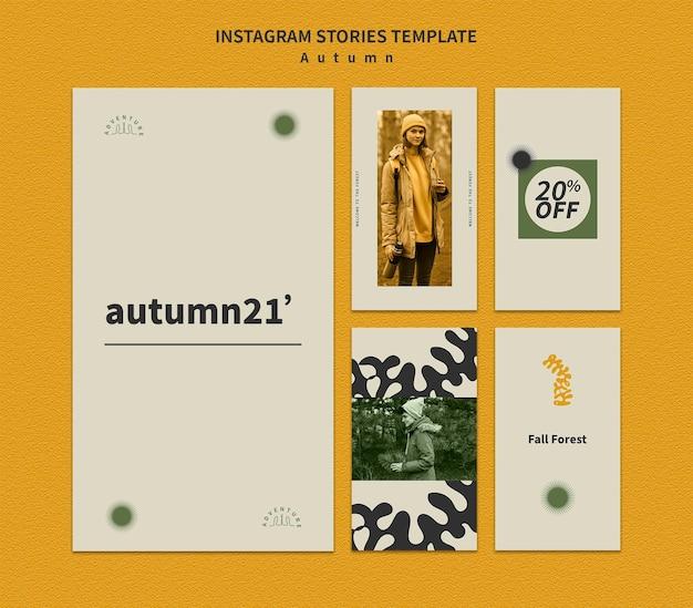 Instagram-verhalenverzameling voor herfstavontuur in het bos