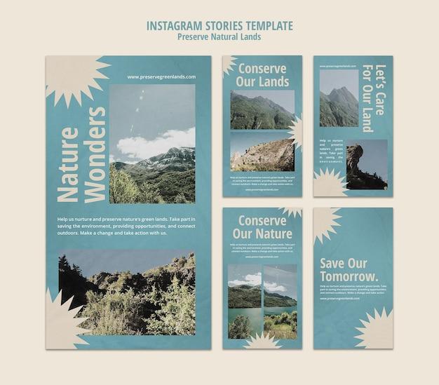 Instagram-verhalenverzameling voor natuurbehoud met landschap