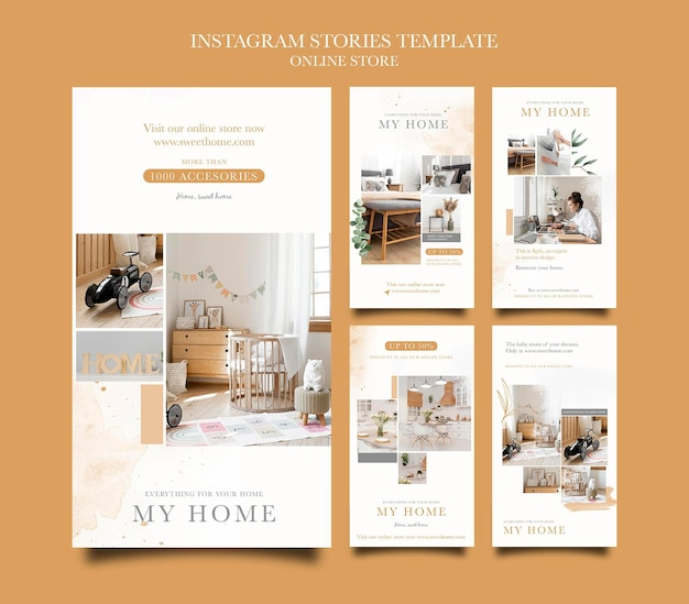 Instagram-verhalenverzameling voor online winkel voor woonmeubelen