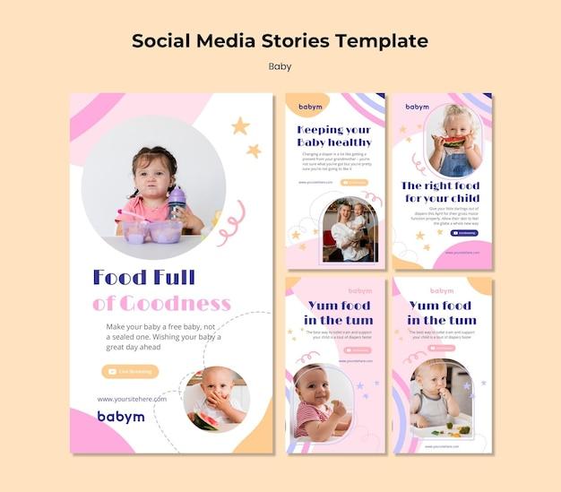 Instagram-verhalenverzameling voor pasgeboren baby