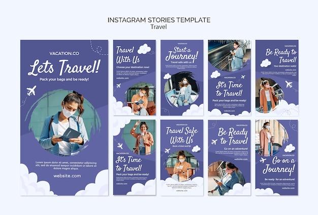 Instagram-verhalenverzameling voor reizen met een vrouw die een gezichtsmasker draagt Gratis Psd