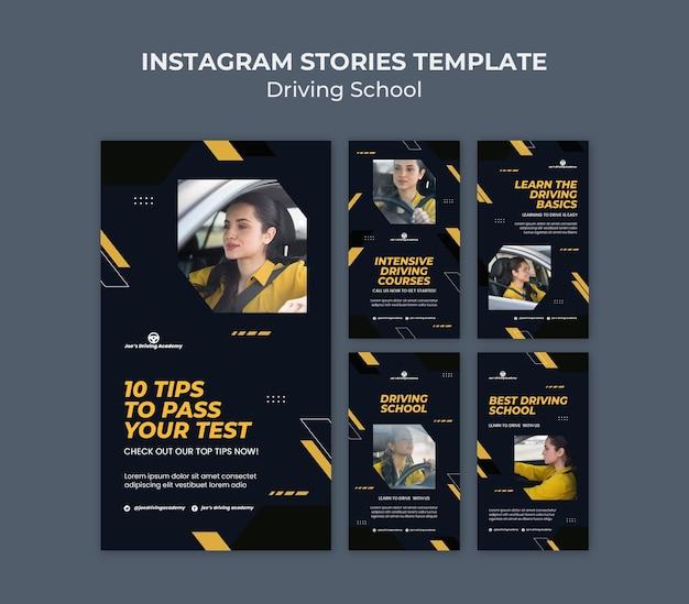 Instagram-verhalenverzameling voor rijschool met vrouwelijke chauffeur