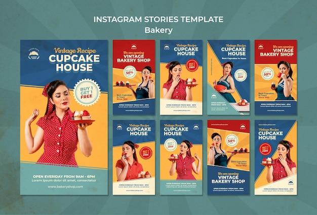 Instagram-verhalenverzameling voor vintage bakkerijwinkel met vrouw