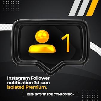 Instagram volger melding voorzijde render pictogram geïsoleerd