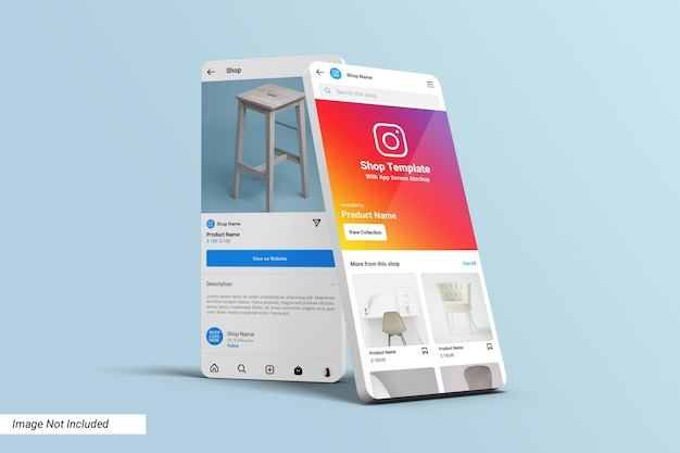 Instagram-winkel ui-sjabloon op app-schermmodel