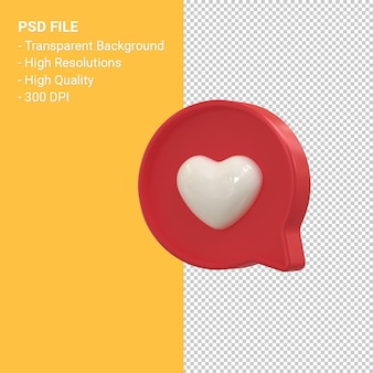Instagram zoals 3d-pictogram of facebook love emoji-meldingen 3d-rendering geïsoleerd