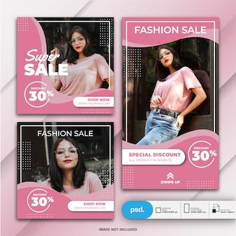 Instagramverhalen en feedpostbundel mode verkoopsjabloon