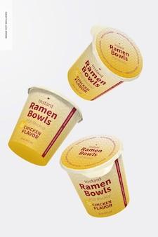 Instant ramen bowls mockup, drijvend