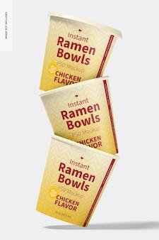 Instant ramen bowls mockup, gestapelde set
