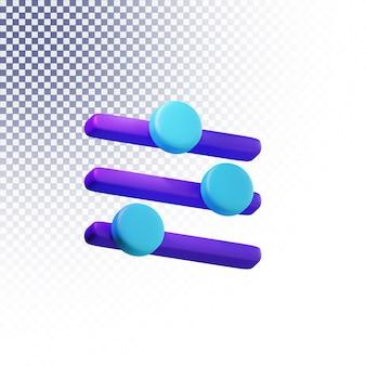 Instelling menupictogram hoge kwaliteit 3d-gerenderde geïsoleerde concept
