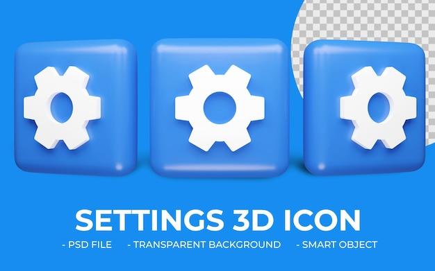 Instellingen of tandwielpictogram 3d-rendering geïsoleerd
