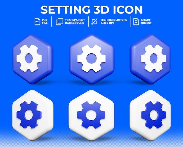 Instellingen pictogram in 3d-rendering
