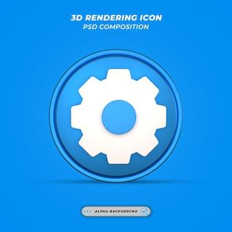Instellingenpictogram in 3d-rendering