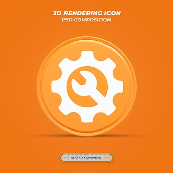Instellingspictogram in 3d-rendering