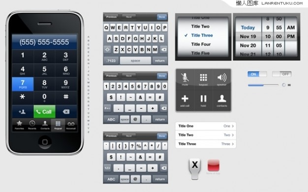 Interfacce di iphone e template parti