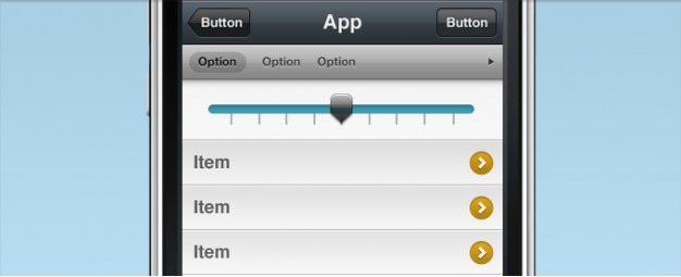 Interfaccia iphone con slider selector