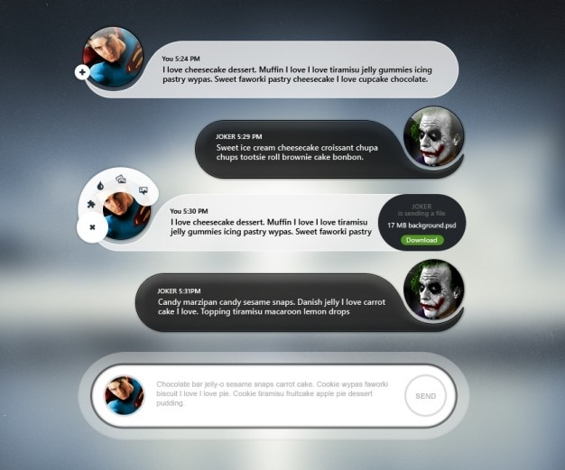 Interfaccia utente mobile chat con avatar